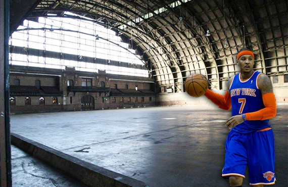 Interior of Bedford-Union Armory in Crown Heights (credit: Brooklyn Borough President's Office) and Carmelo Anthony