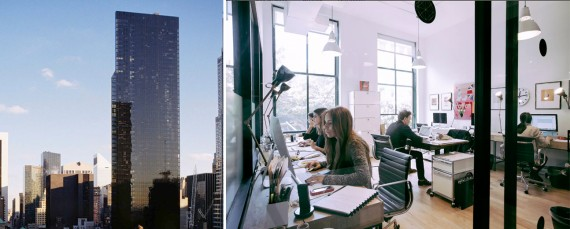 Metropolitan Tower at 142 West 57th Street and a WeWork space at 135 East 57th Street