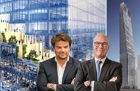 From left: Rendering 66 Hudson Place and 200 Amsterdam Place (inset: From left, Bjarke Ingels and