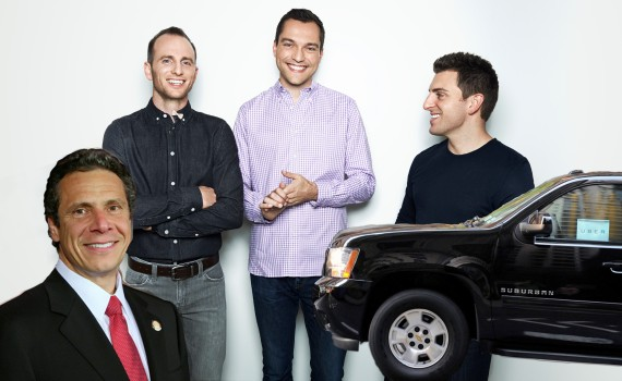 Gov. Andrew Cuomo, airbnb founders Joe Gebbia, Nathan Blecharczyk and Brian Chesky and an Uber car