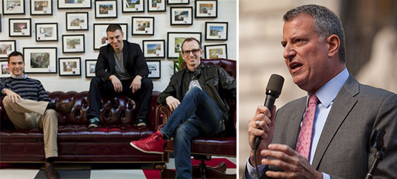 Nathan Blecharczyk,Brian Chesky, Joe Gebbia and Bill de Blasio