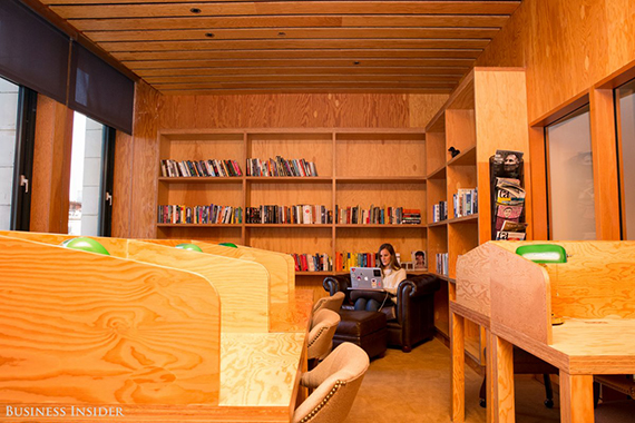 If you're looking for an especially quiet place to escape, the office library offers just that. (credit: Sarah Jacobs via Business Insider)