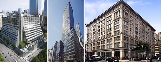 From left: 450 West 33rd Street, 90 Park Avenue and 315 Hudson Street