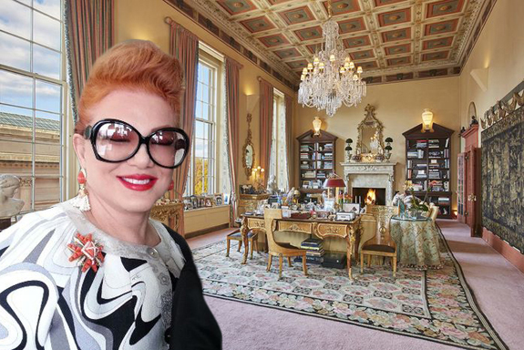 Georgette Mosbacher and her apartment (credit: ShashiBellamkonda via Wikimedia, StreetEasy)