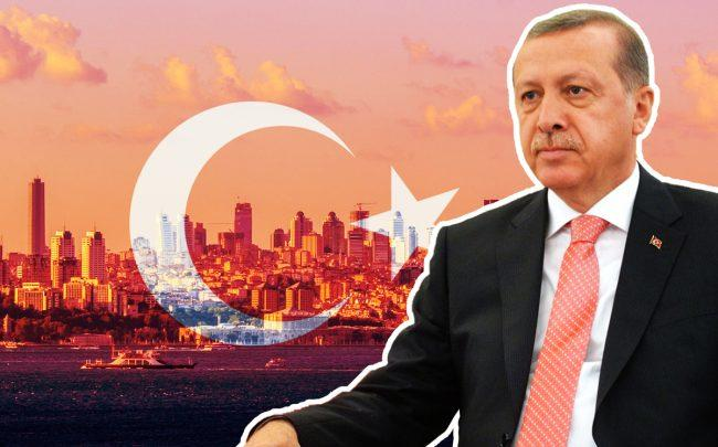 Istanbul overlaid with the Flag of Turkey and President Recep Tayyip Erdogan