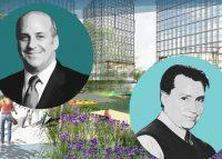 From left: Dynamic Star CEO Gary Segal, renderings of Fordham Landing in the Bronx, and Dynamic Star Director of Development Brad Zackson (Credit: Google Maps and Dynamic Star)