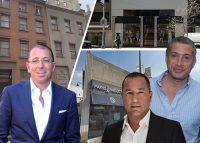 From left: Joseph Sitt, Yaron Jacobi and Uzi Ben Abraham; 117 East 15th Street, 1122 Madison Avenue and 96-33 Queens Boulevard (Credit: Google Maps, Getty Images)