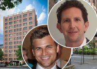 Benchmark Real Estate Group's Aaron Feldman (left) and Jordan Vogel (right) with 25 Monroe Place in Brooklyn (Credit: LinkedIn)