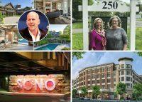 Clockwise from top left: Bruce Willis lowers asking price on Bedford Corners estate by nearly $1M (credit: Wikipedia and Houlihan Lawrence), Wilton-based agency joins Berkshire Hathaway's HomeServices as residential brokerage consolidation comes to Connecticut, CVS signs lease as anchor tenant at New Rochelle's Rockwell development and Nordstrom sets an opening date for its store at Norwalk's new SoNo Collection (credit: JohnOwensCT).