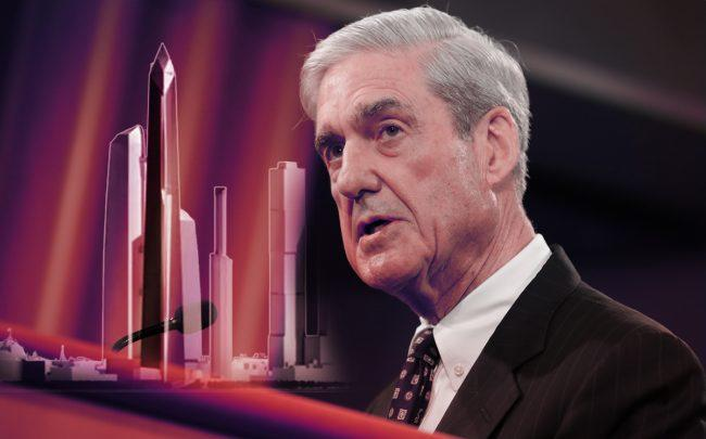 Special counsel Robert Mueller and the proposed Trump Tower Moscow (Credit: Getty Images/Trump Tower Moscow via BuzzFeed)