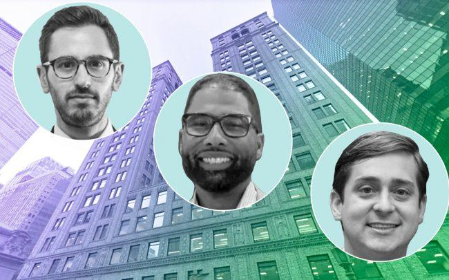 Brett Siegel,Jean Celestin, and Evan Layne with Newmark Knight Frank offices at 125 Park Avenue (Credit: LinkedIn and Google Maps)