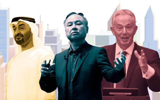 Crown Prince Sheikh Mohammed bin Zayed Al Nahyan of Abu Dhabi, Softbank CEO Masayoshi Son, and former British Prime Minister Tony Blair (Credit: Getty Images)