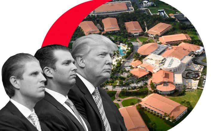 President Donald Trump with sons Eric and Donald Jr., and an aerial view of Trump Doral (Credit: Paul Morigi/WireImage, DANIEL SLIM/AFP via Getty Images)