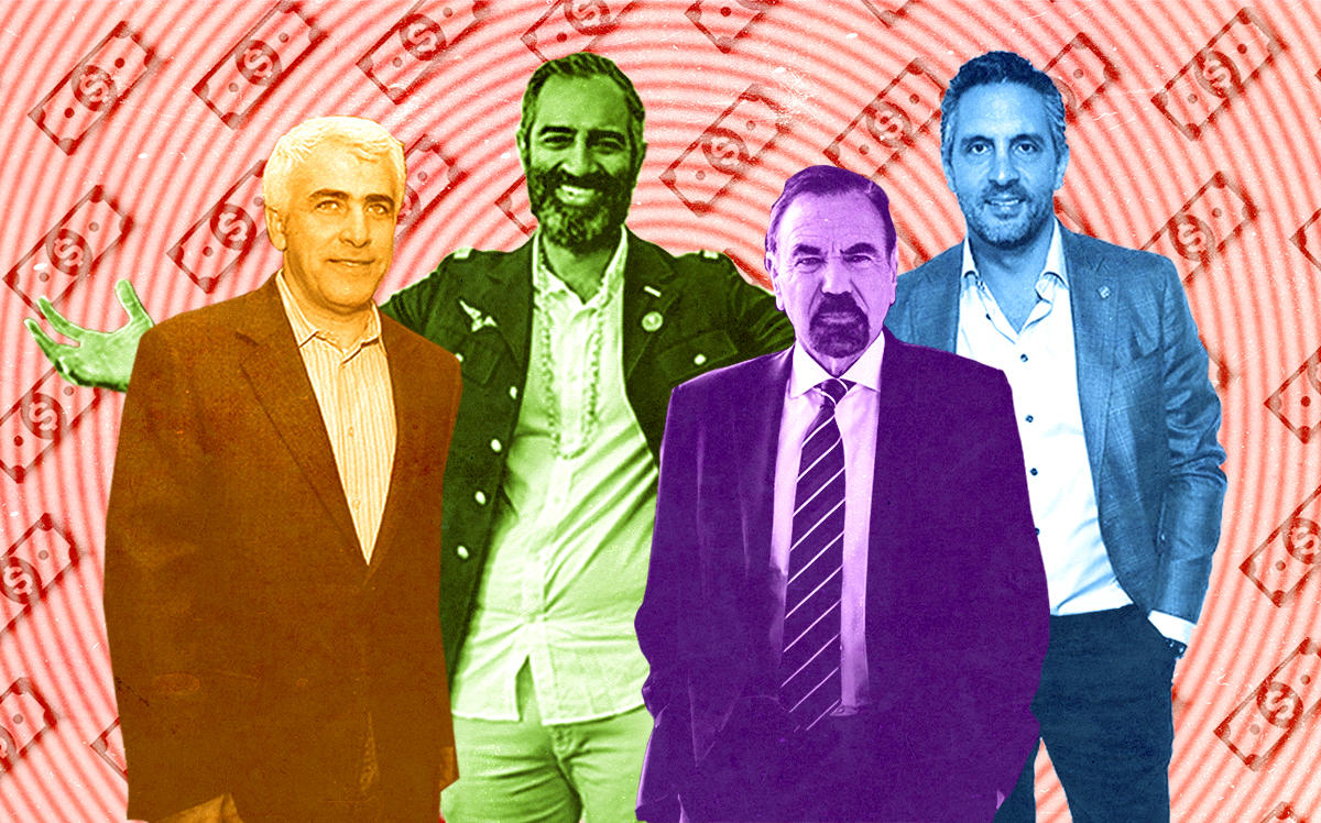 CIM Group's Shaul Kuba, Knotel's Amol Sarva, The Agency's Mauricio Umansky and Related Group's Jorge Pérez (Getty, Sarva by Sasha Maslov)