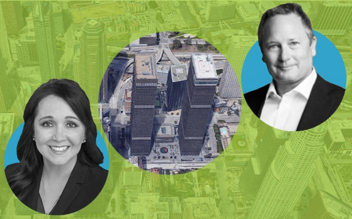 Calpers CEO Marcie Frost, CommonWealth CEO Brett Munger and City National Plaza (Google Maps)