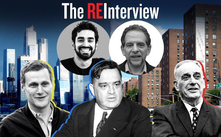 From left: Tishman Speyer CEO Rob Speyer, Fiorello LaGuardia and Robert Moses. Inset: Hiten Samtani and Charles Bagli (Getty Images, Wikipedia Commons)