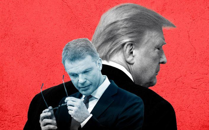 Deutsche Bank CEO Christian Sewing and President Donald Trump (Sewing by Thomas Lohnes/Getty Images; Trump by Drew Angerer/Getty Images)