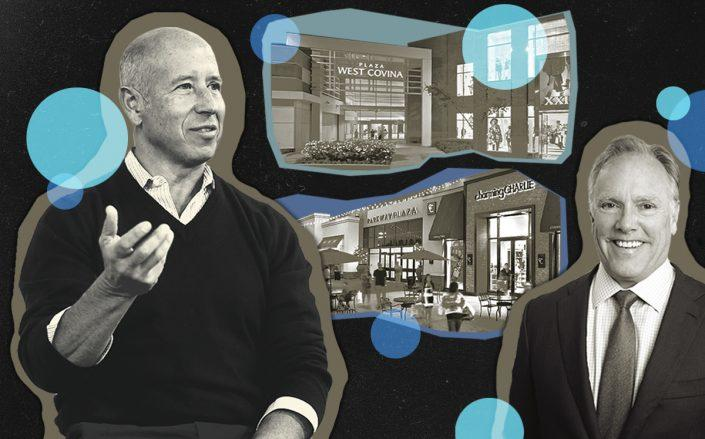 Barry Sternlicht of Starwood and Steve Plenge of Pacific Retail with Parkway Plaza in San Diego and Plaza West Covina in Los Angeles (Getty, Starwood, Pacific Retail)