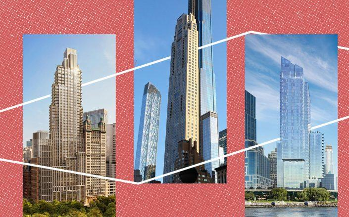 From left: 25 Park Row, 220 Central Park South, 30 Riverside Blvd (COOKFOX, Getty; StreetEasy)