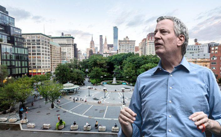 Union Square and Mayor Bill de Blasio (Getty)