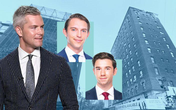Ryan Serhant and B6 Advisors' Zach Redding and Dylan Kane with 809 Madison Avenue (Getty; Google Maps; B6)