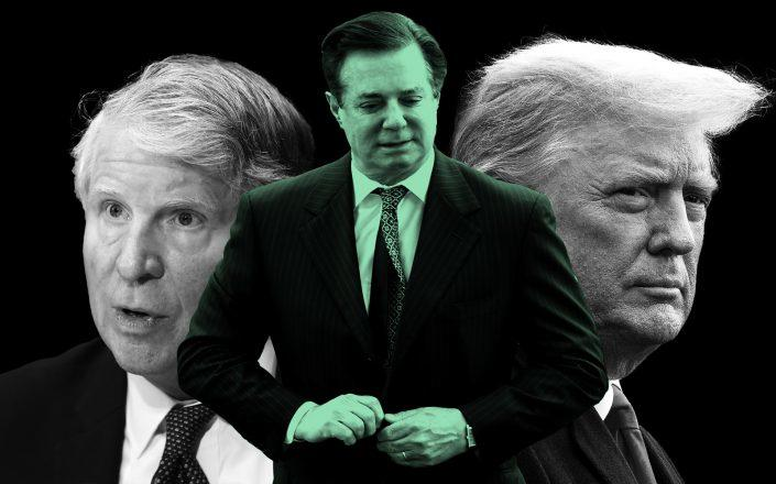 Manhattan district attorney Cy Vance, Paul Manafort, and President Donald Trump (Getty)