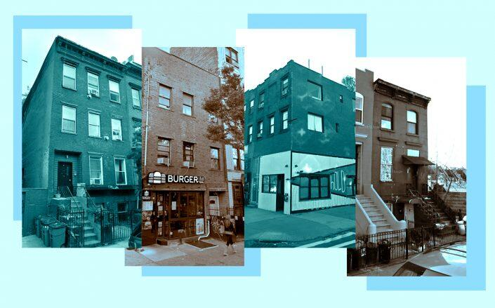 From left to right: 130 South 2nd Street, 318 Bedford Avenue, 740 Driggs Avenue, 144 Huntington Street in Brooklyn (Google Maps)