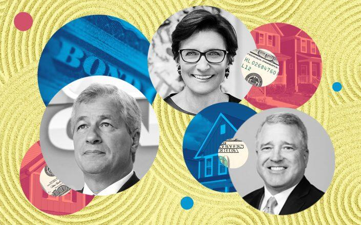 Left to right: JP Morgan Chase CEO Jamie Dimon, Citigroup CEO Jane Fraser and Texas Capital Bank CEO Rob Holmes (iStock, LowneyJen / Wikimedia, World Economic Forum / Wikimedia, Texas Capital Bank)