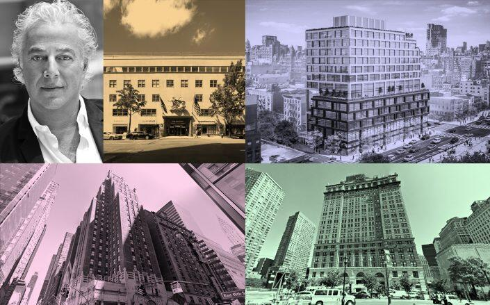 Clockwsie Top Left: Aby Rosen at 980 Madison Avenue, 258-278 Eighth Avenue, 1 West Street and 511 Lexington Avenue (RFR, JJ Operating, Google Maps)