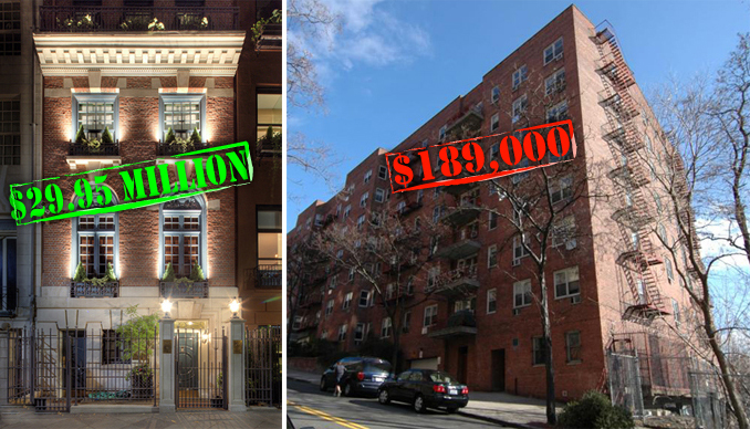 Priciest cheapest units to hit the market for 100 overlook terrace new york ny
